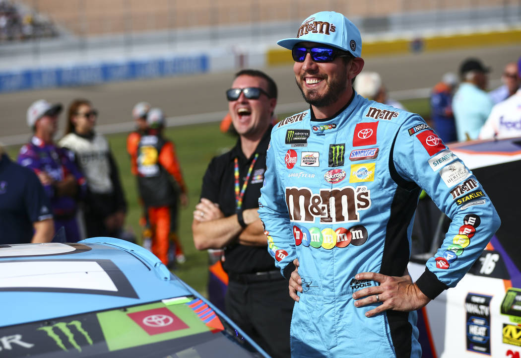 Kyle Busch prepares for a NASCAR Cup Series auto race at Las Vegas Motor Speedway, Sunday, Sept ...