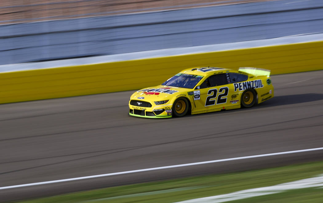 Joey Logano (22) drives during a NASCAR Cup Series auto race at Las Vegas Motor Speedway, Sunda ...