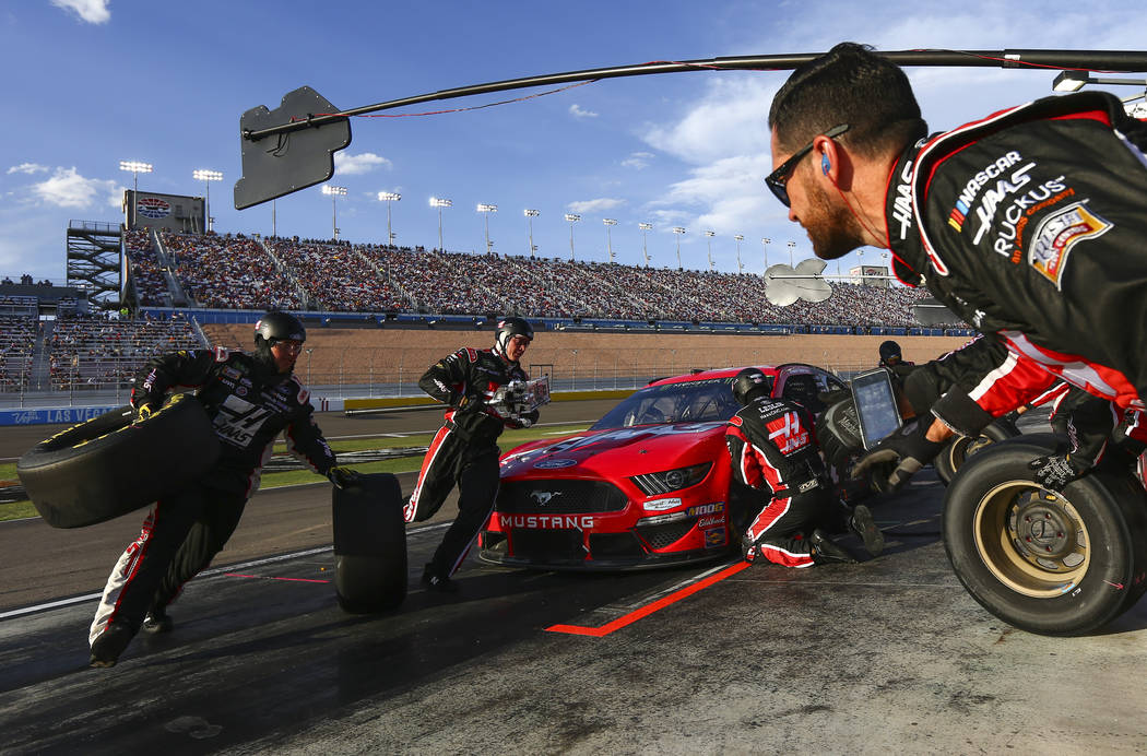 Daniel Suarez pits during a NASCAR Cup Series auto race at Las Vegas Motor Speedway on Sunday, ...