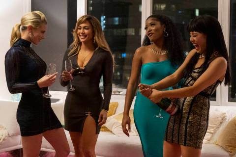 This image released by STXfilms shows, from left, Lili Reinhart, Jennifer Lopez, Keke Palmer, a ...