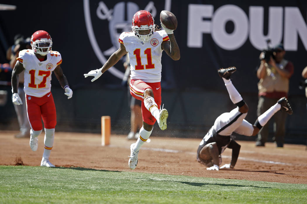 Kansas City Chiefs wide receiver Demarcus Robinson (11) celebrates after scoring a touchdown as ...