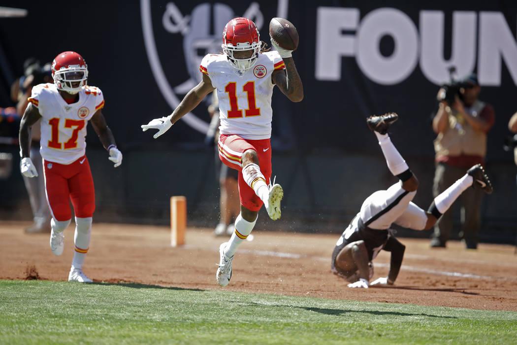 Kansas City Chiefs wide receiver Demarcus Robinson (11) celebrates after scoring a touchdown as ...