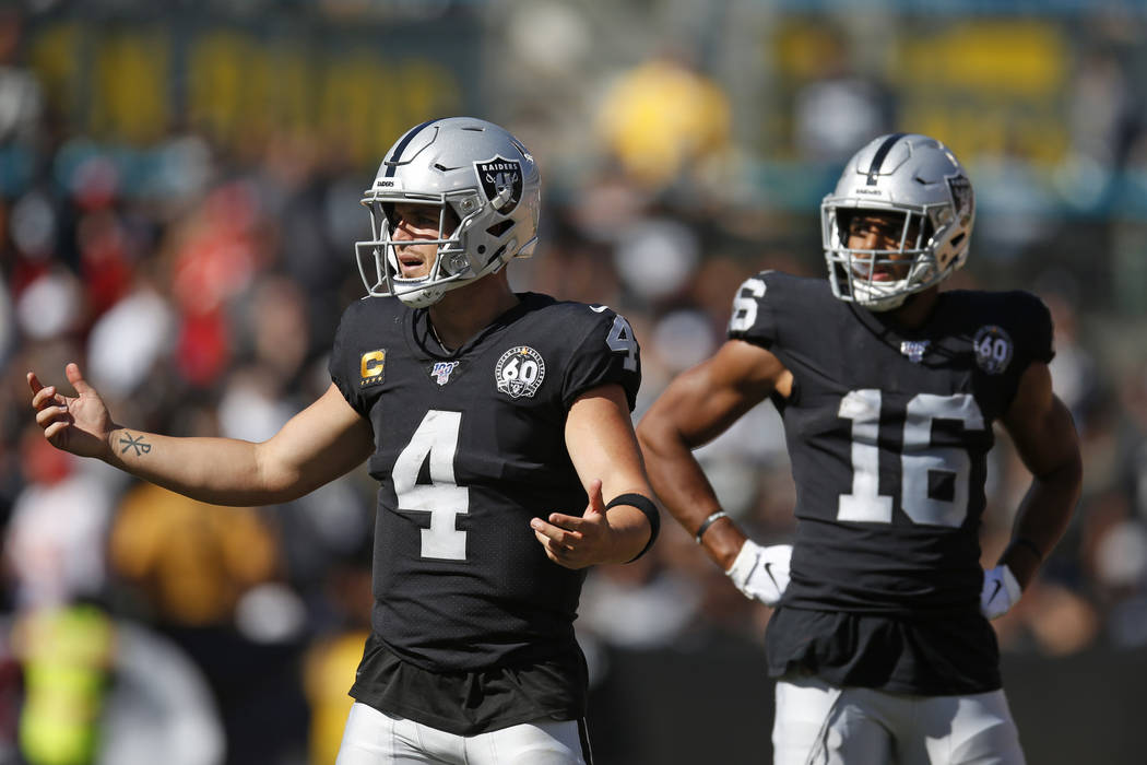 Oakland Raiders quarterback Derek Carr (4) reacts after a play as wide receiver Tyrell Williams ...