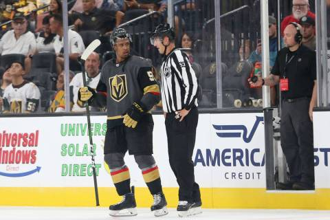 Vegas Golden Knights right wing Keegan Kolesar (55) is ejected from the game after a foul again ...