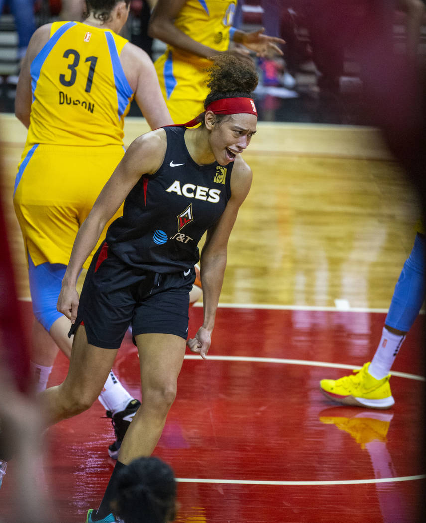 Las Vegas Aces forward Dearica Hamby (5) is pumped after scoring again over the Chicago Sky def ...