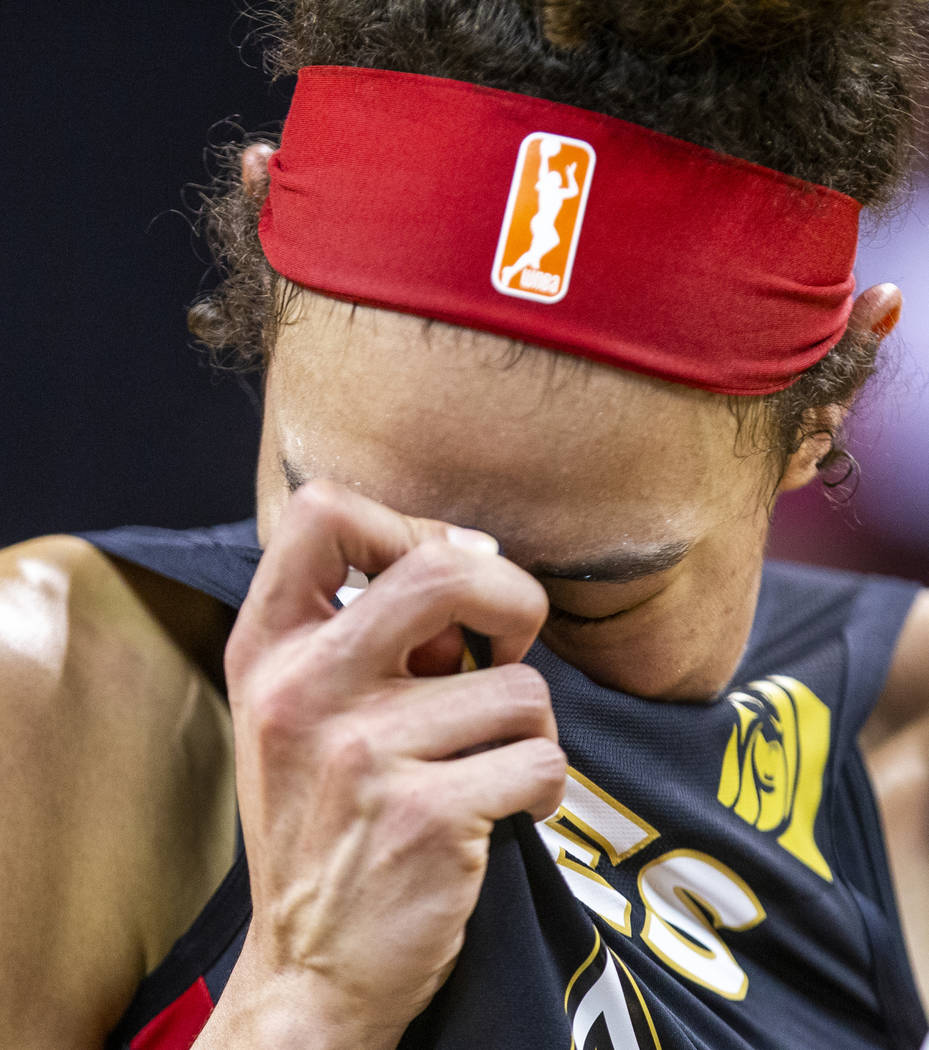 Las Vegas Aces forward Dearica Hamby (5)is overcome with emotion following their win over the C ...