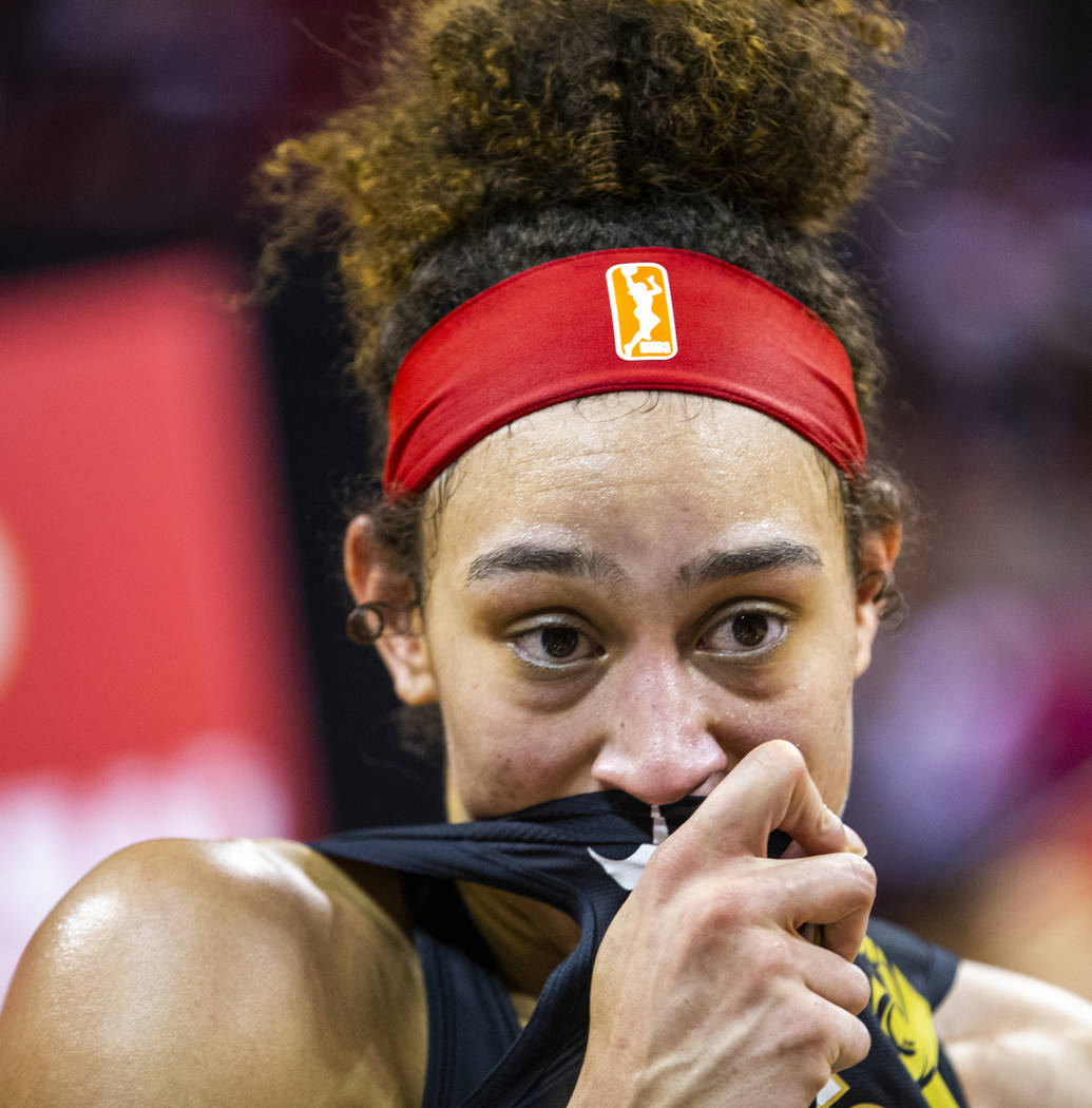 Las Vegas Aces forward Dearica Hamby (5) is overcome with emotion following their win over the ...