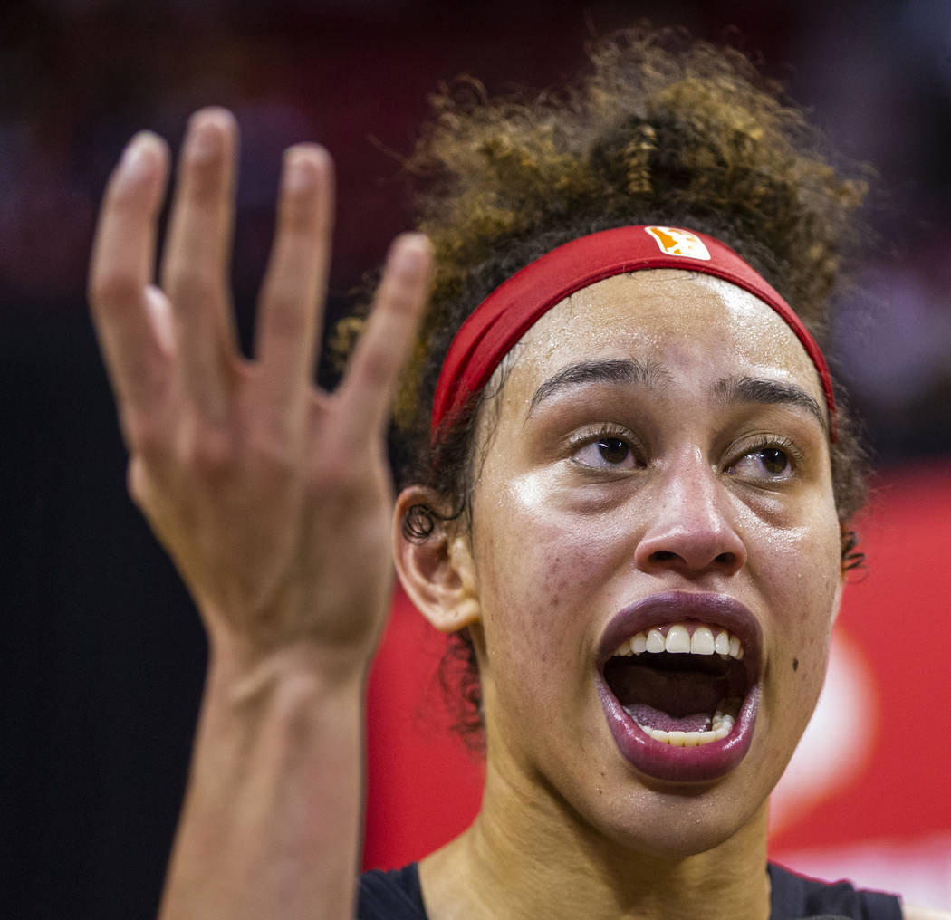 Las Vegas Aces forward Dearica Hamby (5) is excited by her late-game shot following their win o ...