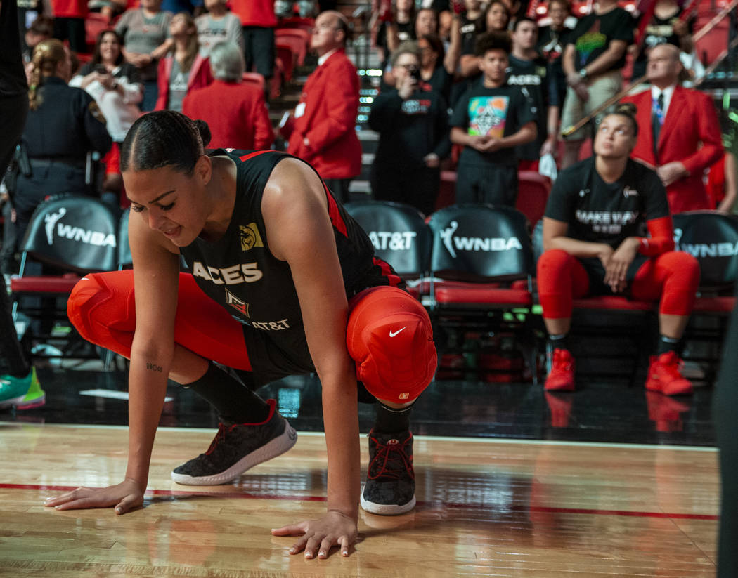 Las Vegas Aces center Liz Cambage (8) prepares for the Chicago Sky before the first half of the ...