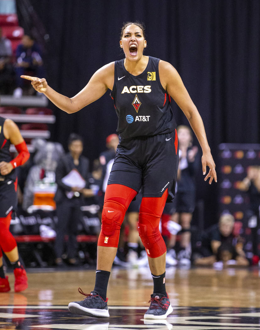 Las Vegas Aces center Liz Cambage (8) is pumped as her team goes up late on the Chicago Sky dur ...