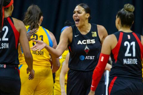 Las Vegas Aces center Liz Cambage (8) gets pumped after scoring against the Chicago Sky during ...