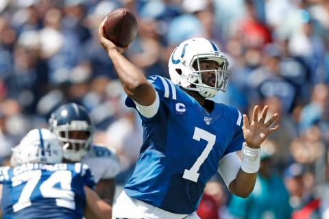 Indianapolis Colts quarterback Jacoby Brissett (7) passes against the Tennessee Titans in the f ...