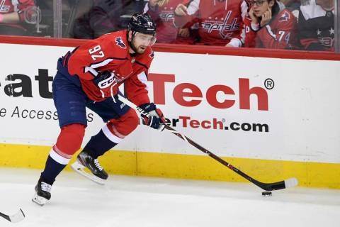 Washington Capitals center Evgeny Kuznetsov (92), of Russia, skates with the puck during the th ...