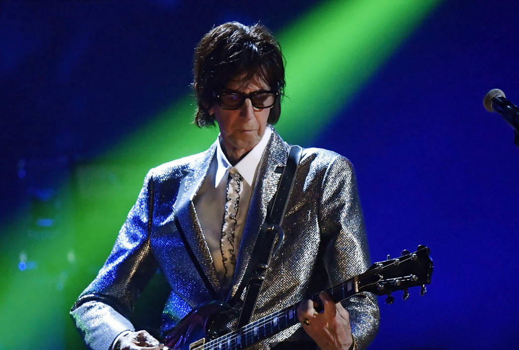 Ric Ocasek, from the Cars, performs during the Rock and Roll Hall of Fame Induction ceremony in ...