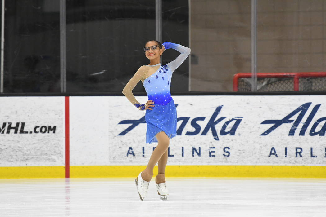 Monet Garcia in a figure skating competition earlier this year. (Melanie Heaney Photography)