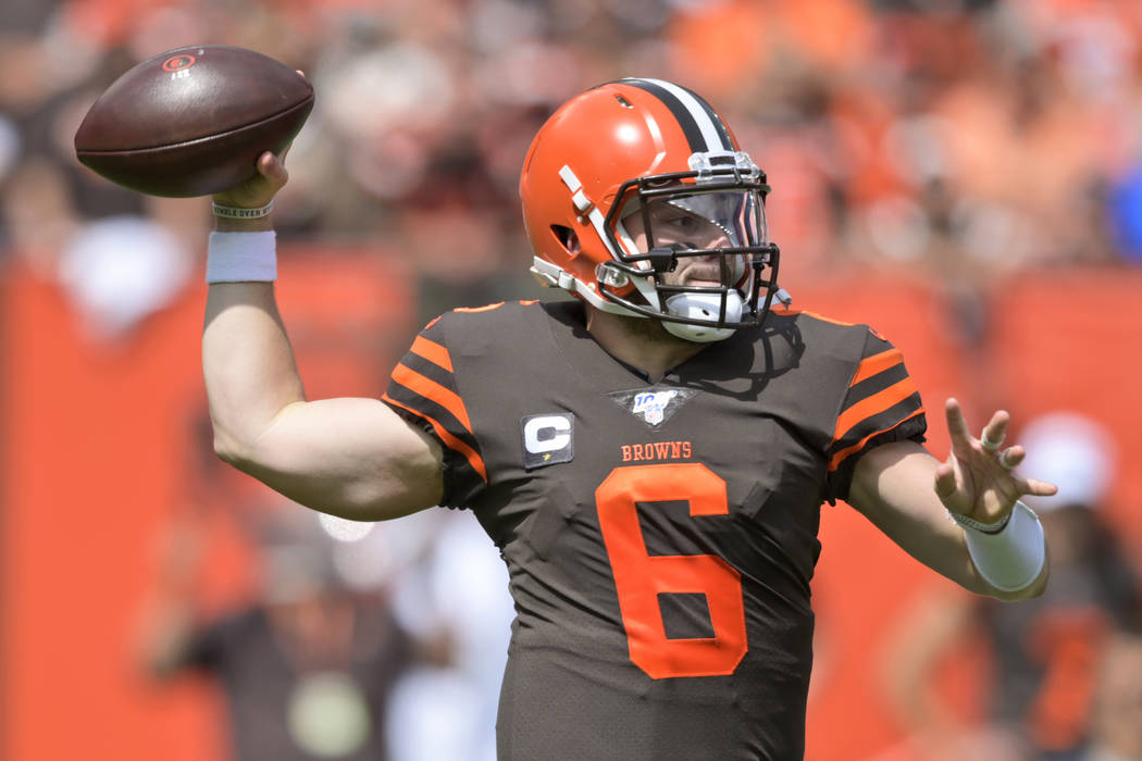 Cleveland Browns quarterback Baker Mayfield throws during the first half in an NFL football gam ...