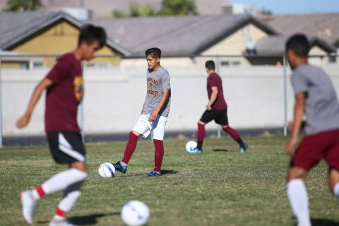 Eldorado's Roberto Gonzalez moves the ball during soccer practice at Eldorado High School in La ...