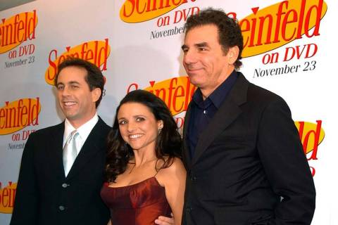 In this Nov. 17, 2004, file photo Jerry Seinfeld, left, Julia Louis Dreyfus and Michael Richard ...