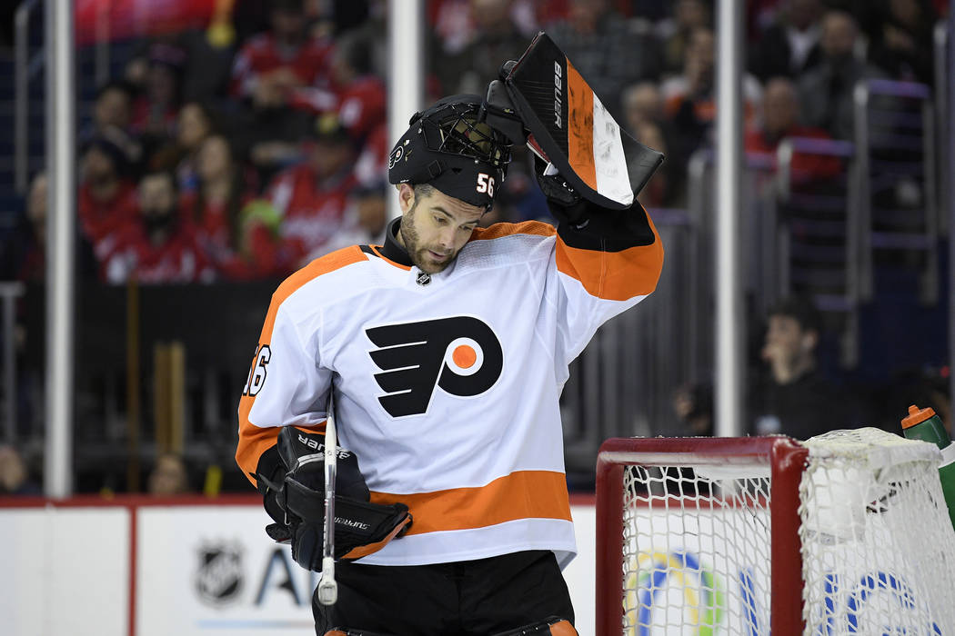 FILE - In this Tuesday, Jan. 8, 2019 file photo, Philadelphia Flyers goaltender Mike McKenna (5 ...