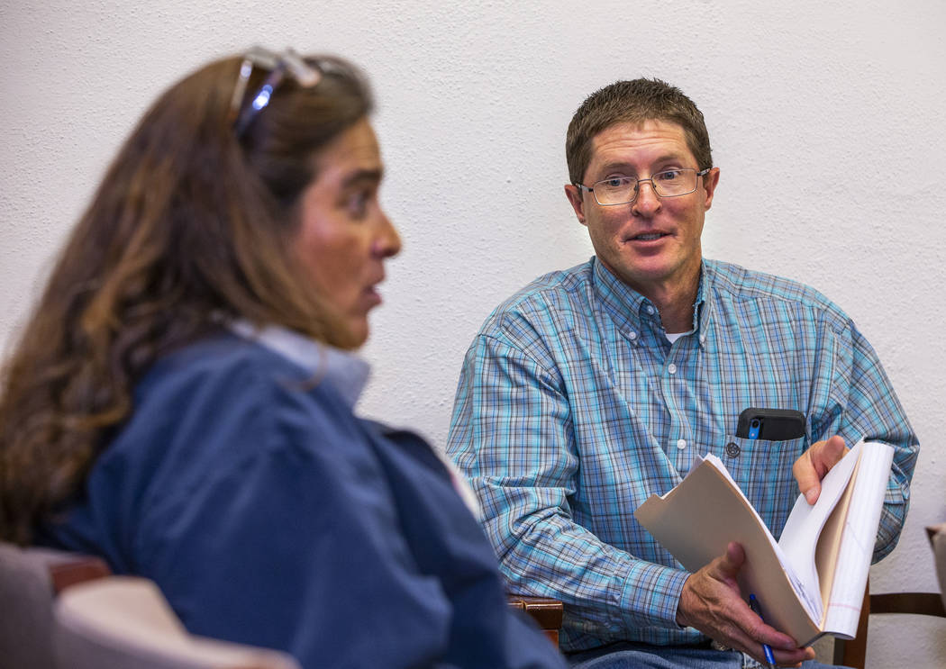 Planning and Building Department Manager Cory Lytle, right, addresses the Board of Lincoln Coun ...