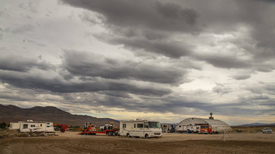 Storm clouds build up about the Area 51 Basecamp festival grounds at the Alien Research Center ...
