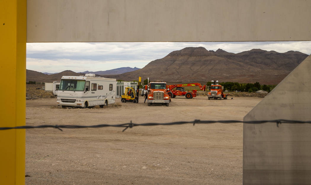 Equipment arrives about the Area 51 Basecamp festival grounds at the Alien Research Center on M ...