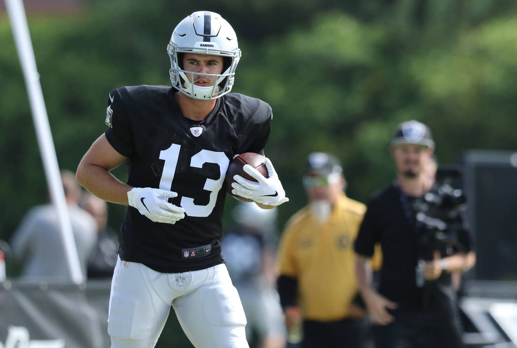 Oakland Raiders wide receiver Hunter Renfrow (13) holds on to the football after a catch during ...