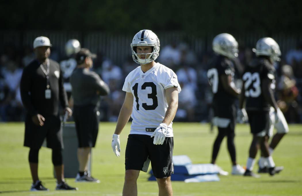 Oakland Raiders wide receiver Hunter Renfrow during NFL football training camp Saturday, July 2 ...