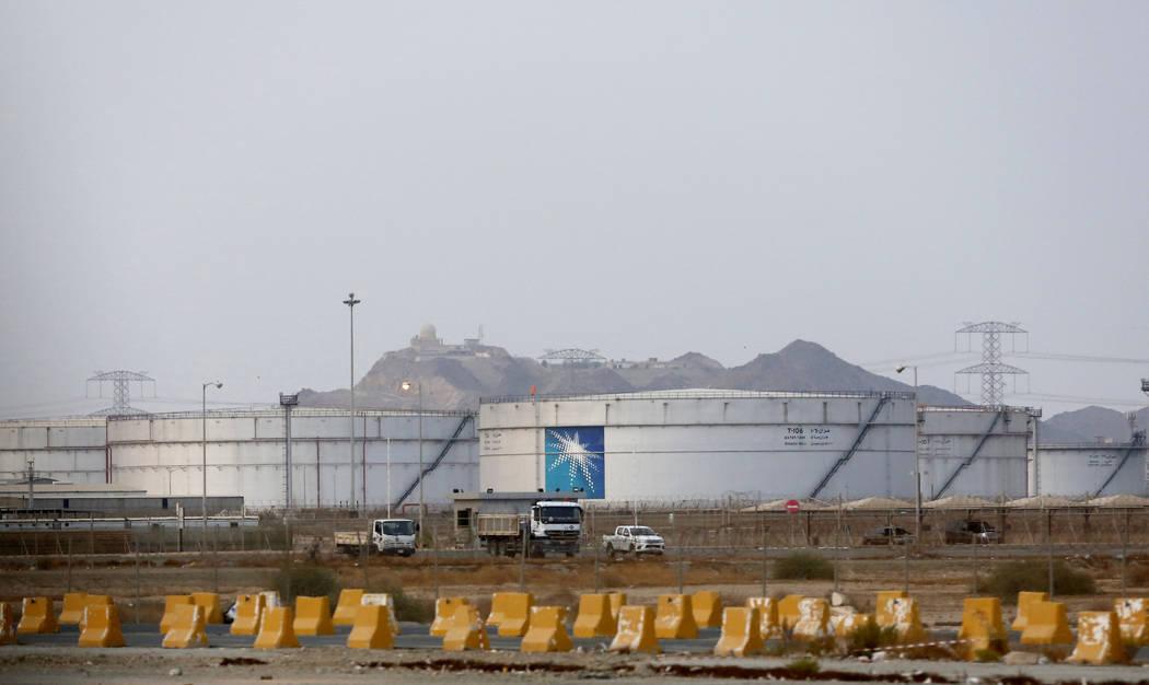 Storage tanks are seen at the North Jiddah bulk plant, an Aramco oil facility, in Jiddah, Saudi ...