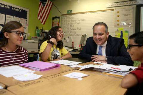 Clark County School Superintendent Dr. Jesus Jara visits MaryAnn Thomson's fifth-grade students ...