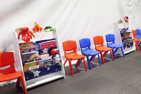 Stuff animals, story books and small chairs fill the Juvenile waiting area at the Migrant Prote ...
