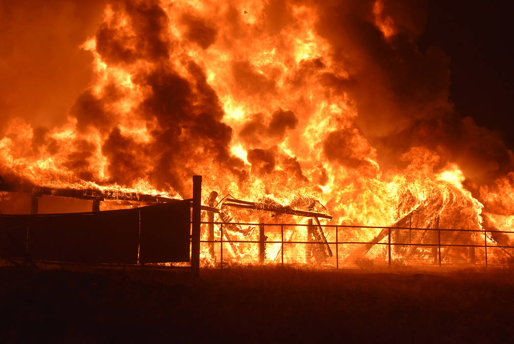 Due to the size of the fire and numerous exposures on the Binion Ranch property, Fire Chief Sco ...