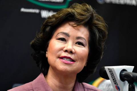 FILE - In this July 13, 2019, file photo, Transportation Secretary Elaine Chao addresses the me ...