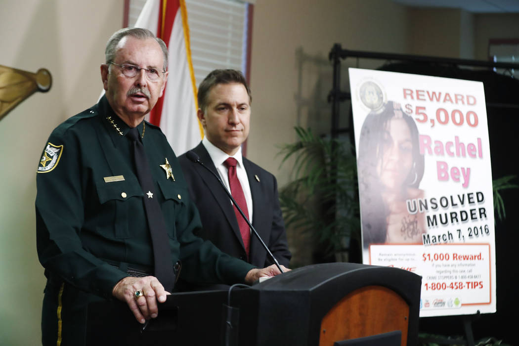 REMOVES AGE REFERENCE - Palm Beach County Sheriff Ric Bradshaw speaks during a news conference ...
