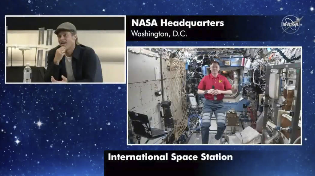 "In this image taken from NASA video actor Brad Pitt, left, star of the new space movie "" ..."