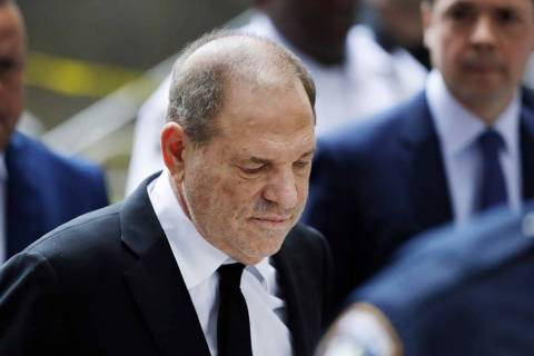 In this Aug. 26, 2019, photo, Harvey Weinstein arrives in court in New York. (AP Photo/Mark Len ...