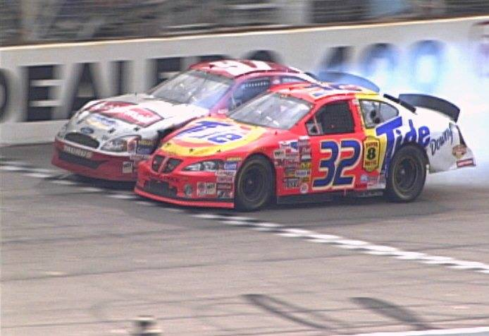 This image retrieved from the NASCAR scoring camera shows Ricky Craven (32) beating Kurt Busch ...