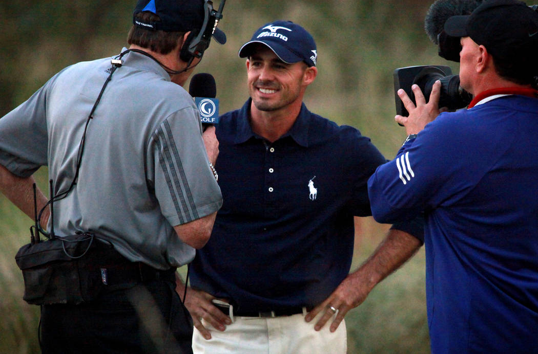 PGA golfer Jonathan Byrd is interviewed after sinking a hole-in-one in the Justin Timberlake Sh ...