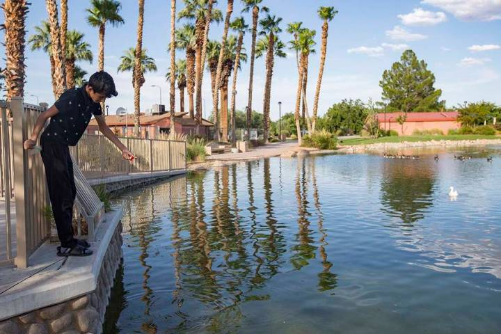 Angel Casares, 15, fishes at the pond at Lorenzi Park in Las Vegas. Weather in the Las Vegas Va ...