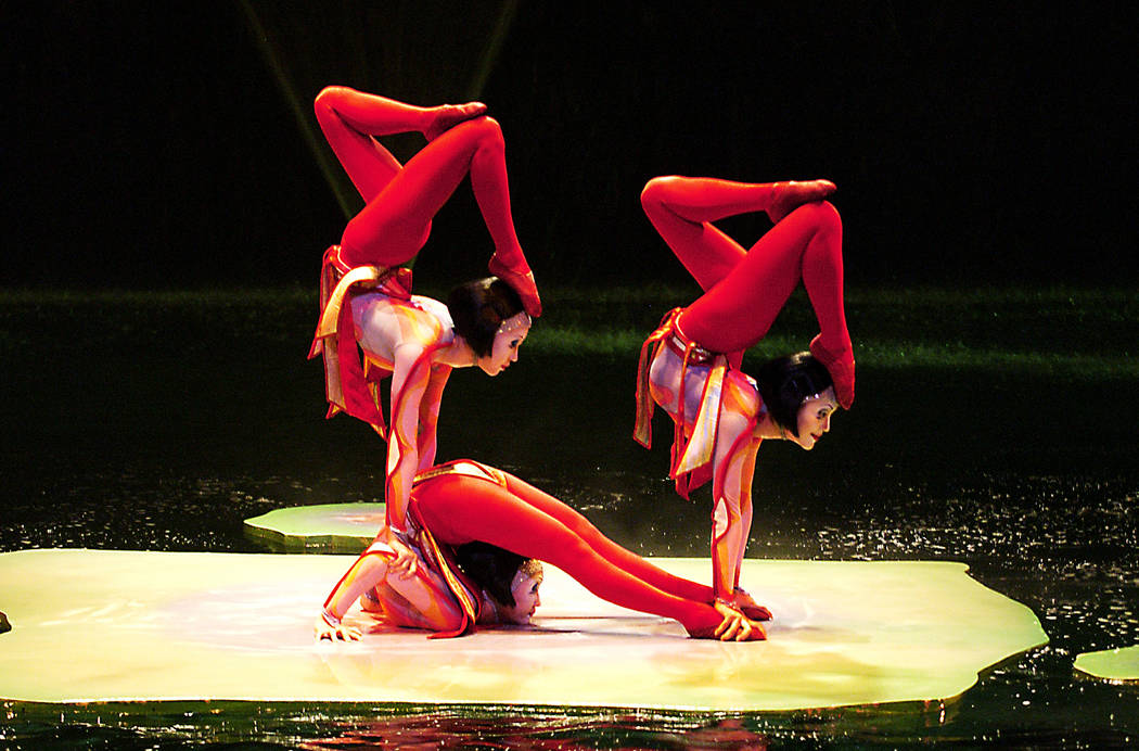 "The Contortion act is shown in ""O"" at Bellagio, which has surpassed 10,000 performances on the ..."