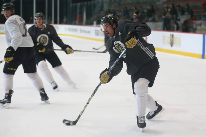 Vegas Golden Knights right wing Mark Stone (61) shoots the puck during a team practice at City ...
