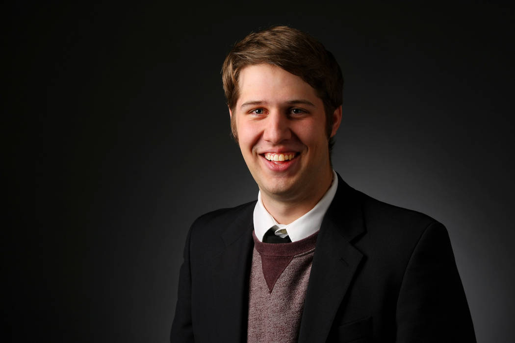 Ben Gotz, copy editor and reporter, poses for a portrait at the Las Vegas Review-Journal photos ...