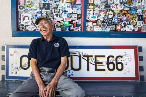 Angel Delgadillo, 91, known as the Angel of Route 66, on Thursday, May 17, 2018, at Delgadillo' ...
