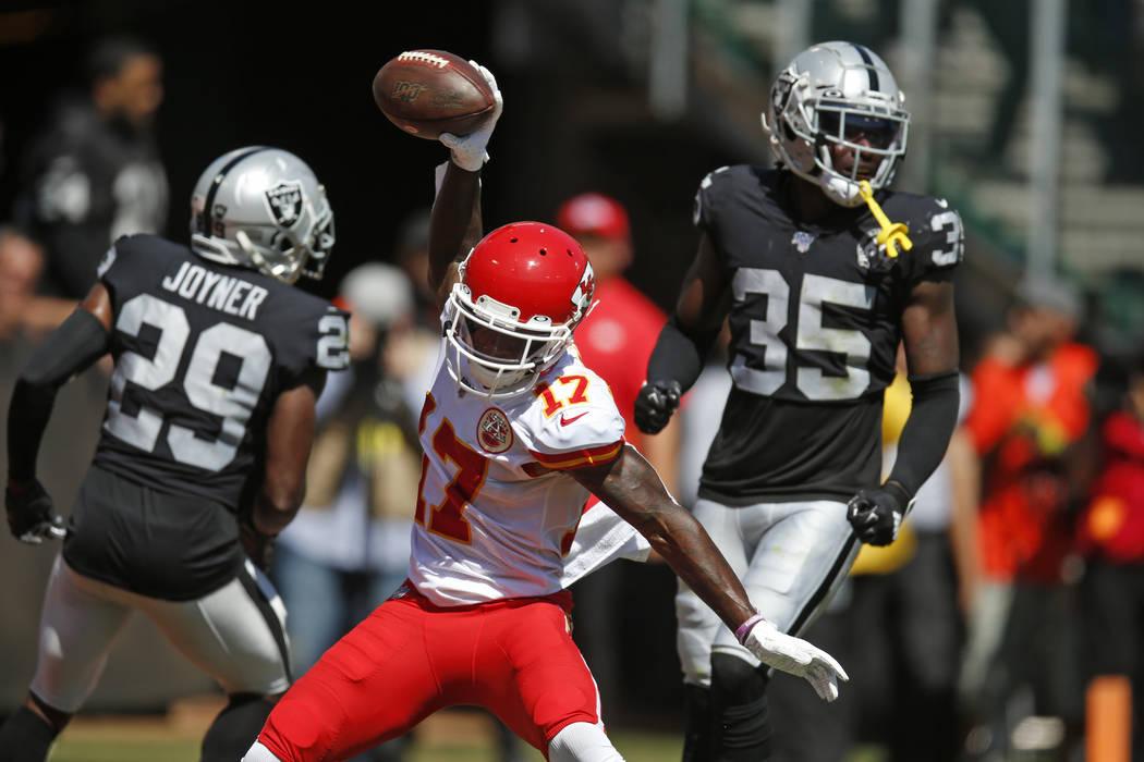 Kansas City Chiefs wide receiver Mecole Hardman (17) celebrates after scoring a touchdown durin ...