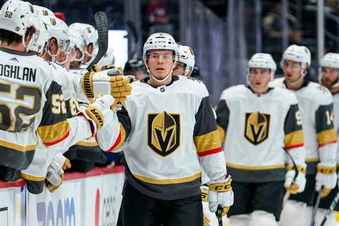 Vegas Golden Knights left wing Valentin Zykov (7) celebrates a goal against the Colorado Avalan ...