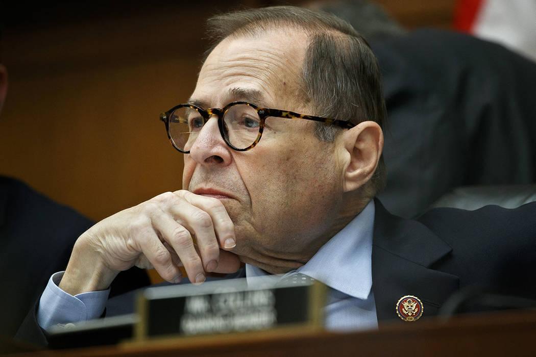 House Judiciary Committee chairman Rep. Jerrold Nadler of N.Y., listens as Corey Lewandowski, f ...