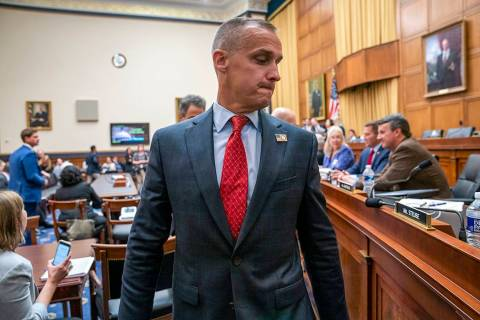 Corey Lewandowski, former campaign manager for President Donald Trump, leaves the House Judicia ...