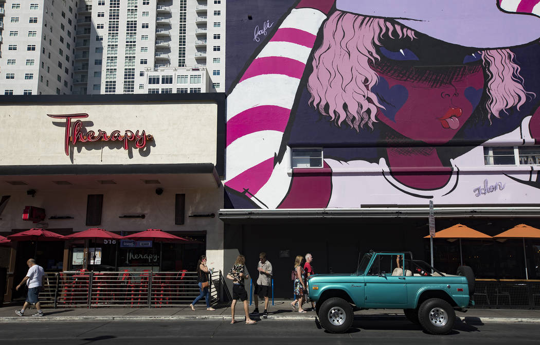 Fremont Street businesses in Downtown Las Vegas, Thursday, Sept. 12, 2019. (Rachel Aston/Las Ve ...