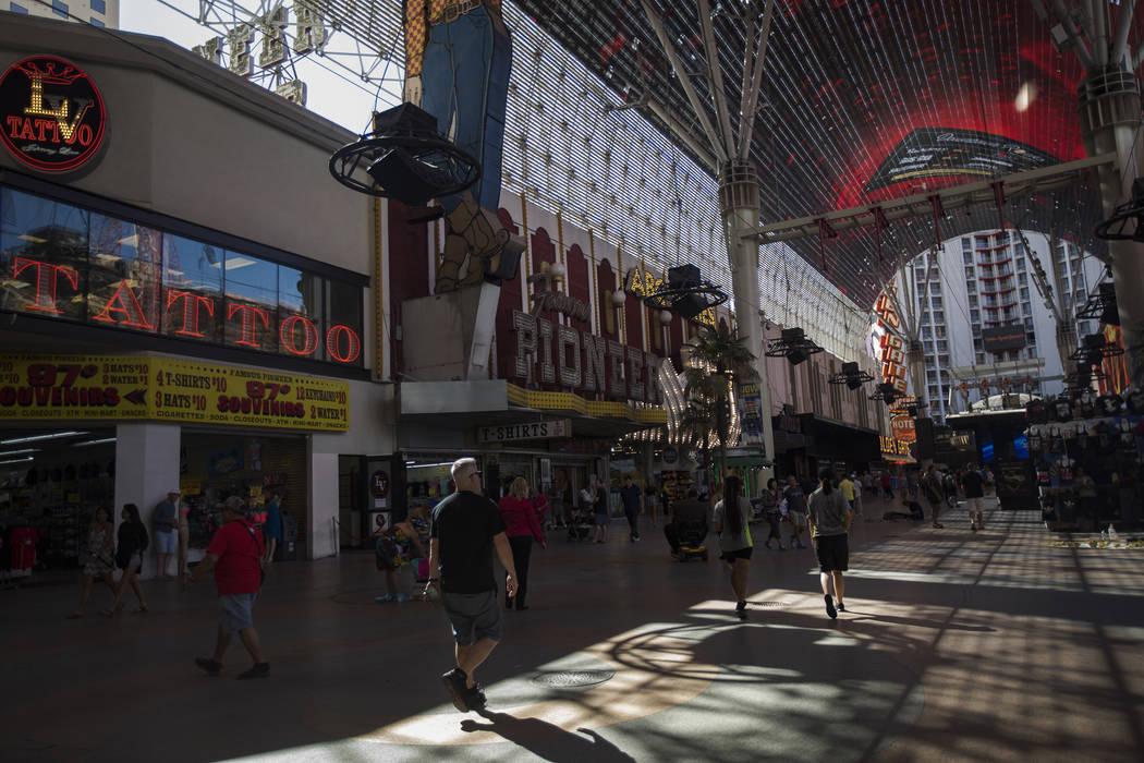 The Fremont Street Experience in Downtown Las Vegas, Thursday, Sept. 12, 2019. (Rachel Aston/La ...