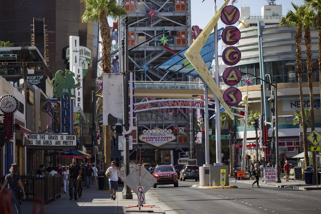 Fremont Street in Downtown Las Vegas, Thursday, Sept. 12, 2019. (Rachel Aston/Las Vegas Review- ...